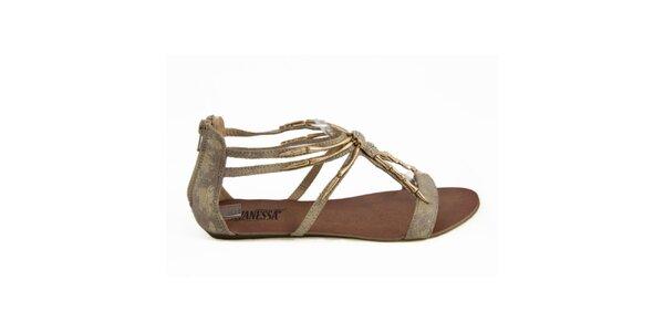 Dámské sandálky se zlatou ozdobou Vanessa