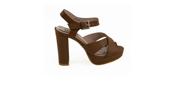 Dámské hnědé sandály na podpatku Vanessa