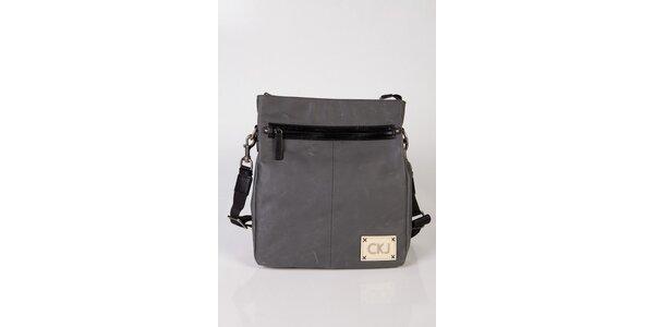 Šedá kožená taška přes rameno Calvin Klein