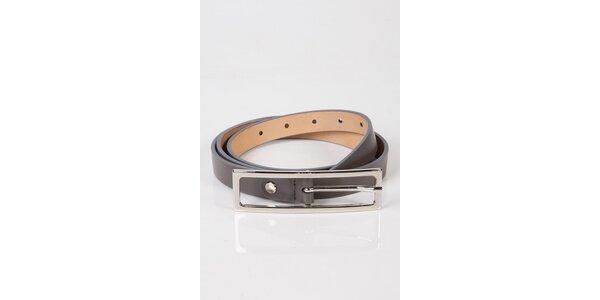 Dámský šedý úzký kožený pásek Calvin Klein