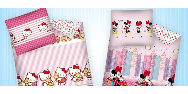 Doprodej teplého flanelového povlečení Minnie a Hello Kitty