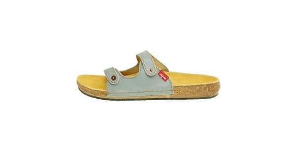 Dámské modrošedé kožené pantofle Levis