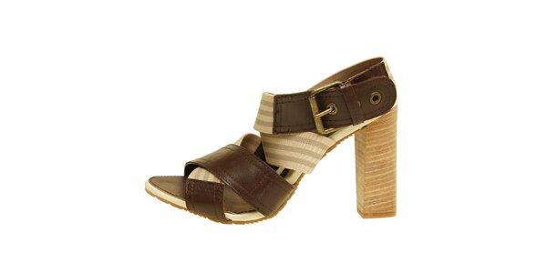 Dámské hnědo-béžové sandálky na vysokém podpatku Levis