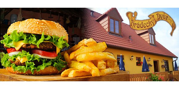 Dva hovězí burgery s hranolkami