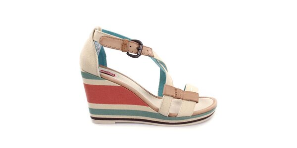 Dámské béžové sandály na pruhovaném klínku Levi's