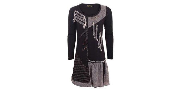 Dámské černé šaty s aplikacemi Sugar Crisp
