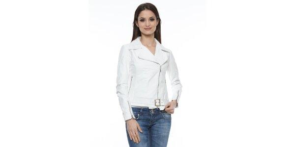 Dámská bílá kožená bunda s přezkou Mangotti