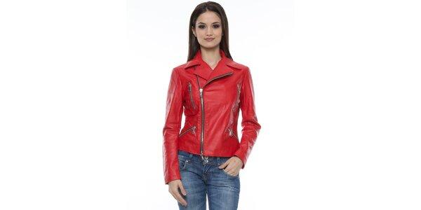 Dámská červená bunda se zipy Mangotti