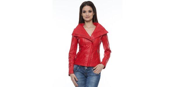 Dámská červená kožená bundička s límcem Mangotti