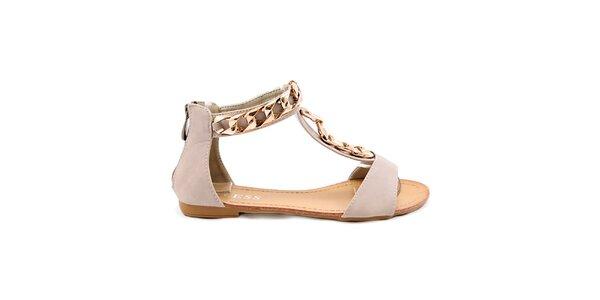 Dámské béžové sandály se zlatou ozdobou Bless