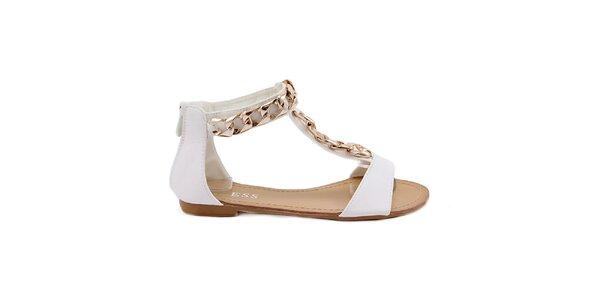 Dámské bílé sandály se zlatou ozdobou Bless