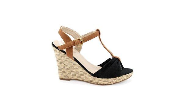 Dámské černé sandály na klínu Bless