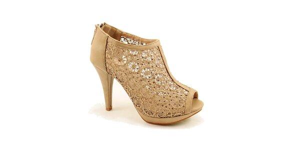 Dámské khaki boty s krajkou Bless