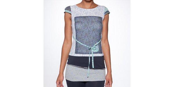 Dámské dlouhé modré vrstvené tričko s páskem Ian Mosh