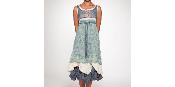 Dámské douhé zeleno-modré šaty s vrstvenou sukní Ian Mosh