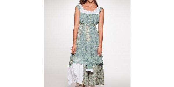 Dámské dlouhé zelené šaty s mašlí v pase Ian Mosh