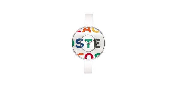 Dámské bílé hodinky Lacoste s barevným logem