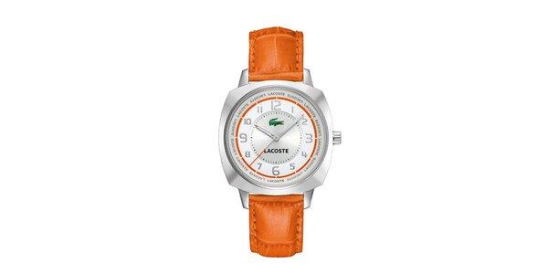 Dámské bílo-oranžové hodinky Lacoste