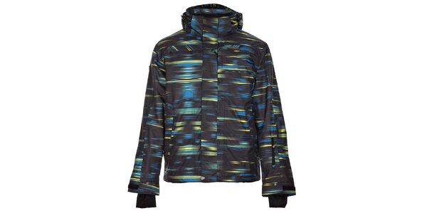 Pánská černá zimní bunda Trimm Neon se modro-žlutým potiskem