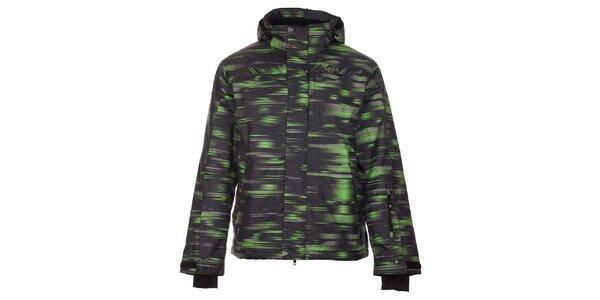 Pánská černá zimní bunda Trimm Neon se zeleno-šedým potiskem