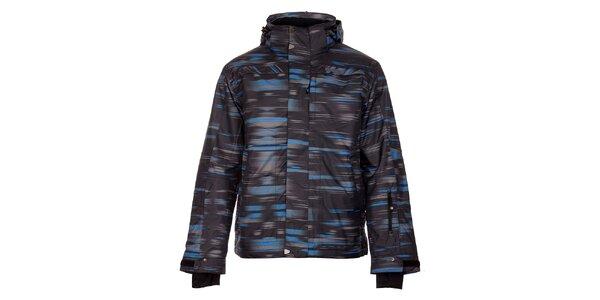 Pánská černá zimní bunda Trimm Neon s modro-šedým potiskem