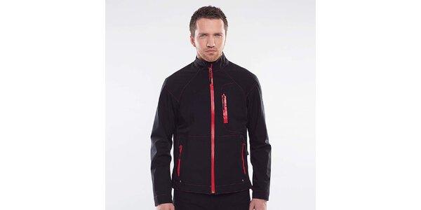 Pánská černá bunda s červenými detaily Blažek