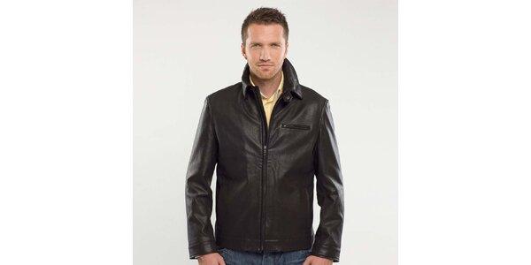 Pánská černá kožená bunda Blažek