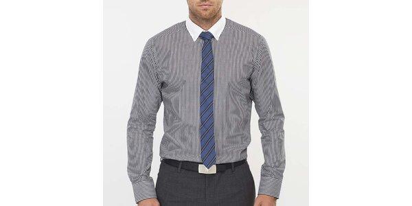 Pánská černě proužkovaná košile s bílým límečkem Blažek