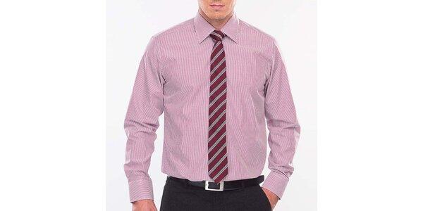 Pánská růžovo-bílá proužkovaná košile Blažek