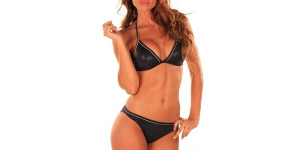 Dámské černé plavky s lesklým efektem Bikiniki