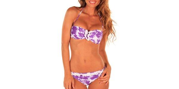 Dámské fialovo-bílé plavky s ozdobným lemem Bikiniki