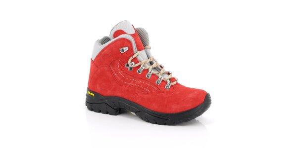 Dámské červené trekové kotníkové boty Kimberfeel