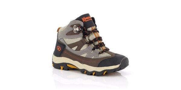Dětské kotníkové boty s hnědo-oranžovými prvky Kimberfeel
