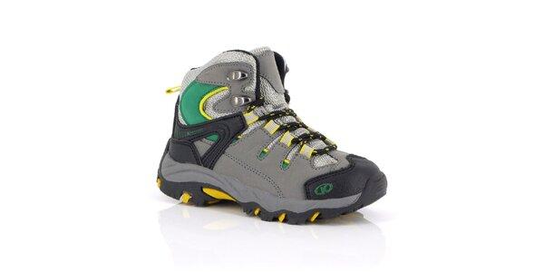 Dámské kotníčkové outdoorové boty se zeleno-žlutými detaily Kimberfeel