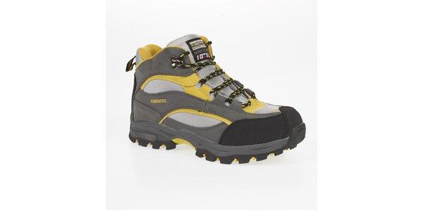 Unisex šedo-žluté trekové kotníčkové boty Kimberfeel