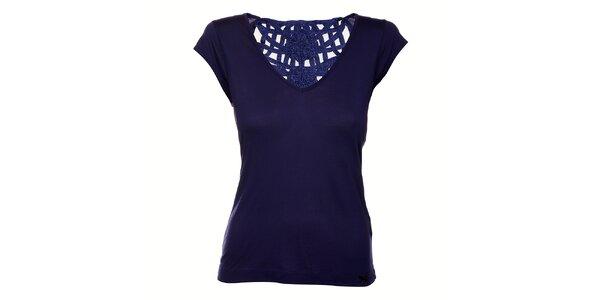 Dámské tmavě modré tričko Miss Sixty s krajkovými zády