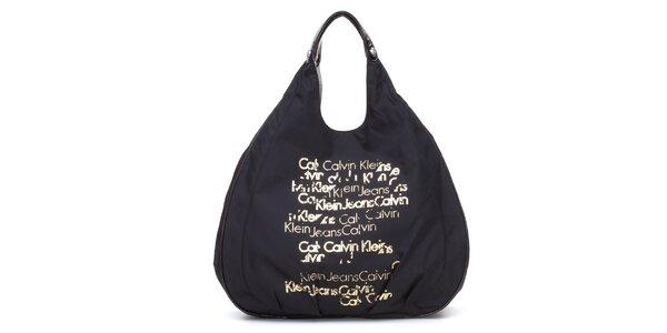 Dámská černá textilní kabelka Calvin Klein se zlatým potiskem