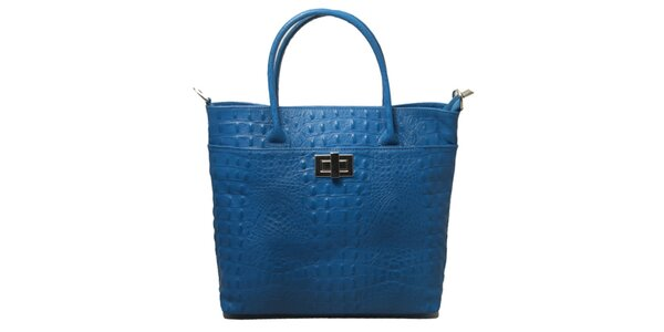 Dámská modrá kabelka s motivem krokodýlí kůže Leonardo Farnesi