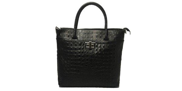 Dámská černá kabelka s motivem krokodýlí kůže Leonardo Farnesi