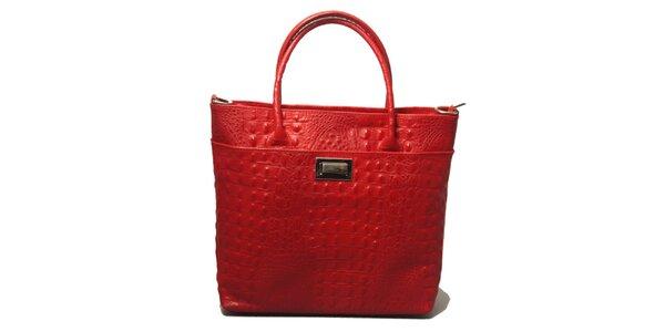 Dámská červená kabelka s motivem krokodýlí kůže Leonardo Farnesi