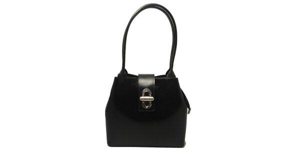 Dámská černá kabelka se zámečkem Leonardo Farnesi