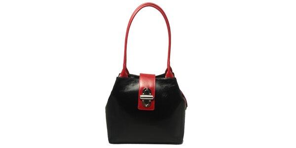 Dámská černá kabelka s červenými lemy a zámečkem Leonardo Farnesi
