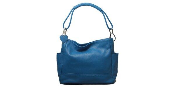 Dámská modrá kabelka s jedním popruhem Leonardo Farnesi