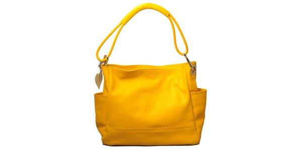 Dámská žlutá kabelka s jedním popruhem Leonardo Farnesi