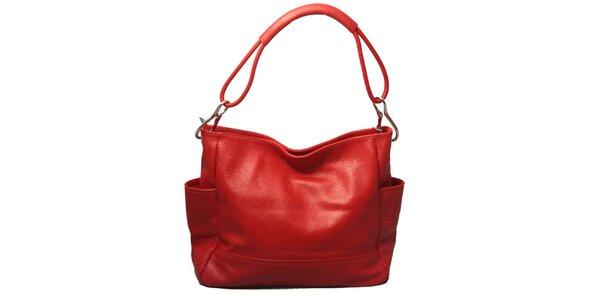 Dámská červená kabelka s jedním popruhem Leonardo Farnesi
