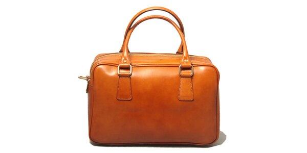 Dámská kožená kabelka v koňakově hnědé barvě Leonardo Farnesi