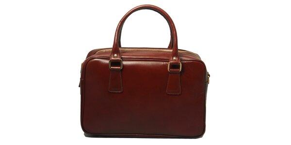 Dámská kožená kabelka v tmavě hnědé barvě Leonardo Farnesi
