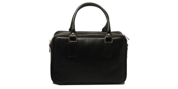 Dámská kožená kabelka v černé barvě Leonardo Farnesi