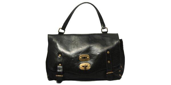 Dámská černá kabelka se zámkem Leonardo Farnesi