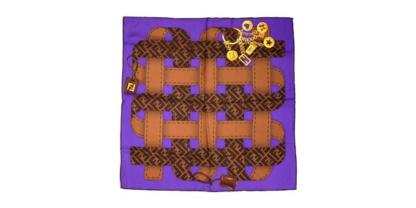 Fialový čtvercový šátek Fendi s motivem opasků
